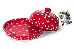 Nádoby - Červená maselnička na malé maslo - 11015629_
