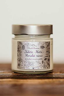 Svietidlá a sviečky - Sviečka zo 100% sójového vosku v skle - Ihličie-Mäta a Morská riasa - 11014768_