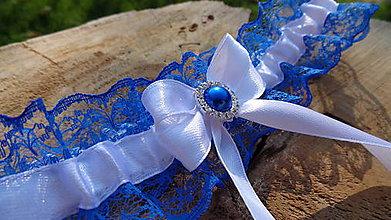 Bielizeň/Plavky - Svadobný podväzok modrá mašlička - 11014487_