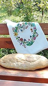 Úžitkový textil - Ľanové vrecko na chlieb a pečivo ručne maľované srdce _ornament - 11015112_