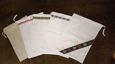 Úžitkový textil - Ľanové vrecko na chlieb v štýle folk - 11015371_