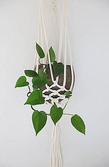 Dekorácie - Macrame držiak na kvetináč // Ďatelina - 11014826_