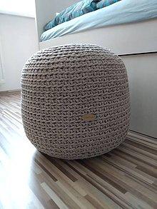 Úžitkový textil - Háčkovaný puf béžový - 11016378_