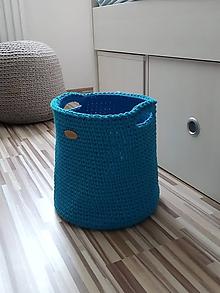 Košíky - Háčkovaný košík, kôš veľký tyrkysový - 11016391_