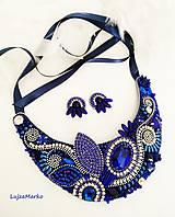 Náušnice - Modrá elegancia naušnice - 11016031_