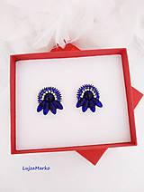 Náušnice - Modrá elegancia naušnice - 11016032_
