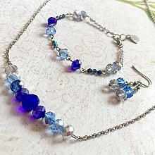 Sady šperkov - Violet-Beige & Stainless Steel Set / Sada šperkov Swarovski Rondelle (Chirurgická oceľ) /T0012 (Sada šperkov) - 11017054_