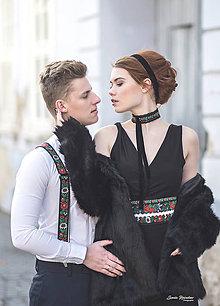 Opasky - Čierny folk opasok - 11017177_