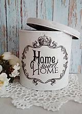 Nádoby - plechová dóza Home sweet home - 11018175_