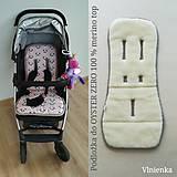 Textil - MERINO podložka OYSTER ZERO Powder pink 100% wool Panda - 11016801_