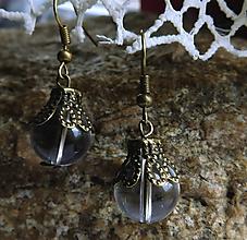 Náušnice - vintage priehľadné zvončeky - 11016739_