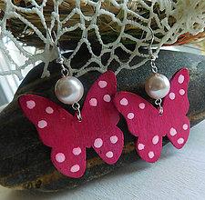 Náušnice - motýliky / 2farby (Ružová) - 11016777_