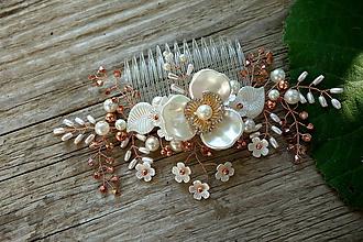 Ozdoby do vlasov - svadobna ozdoba do vlasov  Ivory - ružové zlato - 11016806_