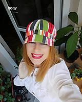 Čiapky - retro plátěná barevná bekovka pruhy, 53-55cm - 11017250_