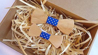Doplnky - Drevený motýlik otec & syn / cena za sadu 2ks - 11017563_