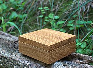 Prstene - Dubová krabička na obrúčky - 11017566_
