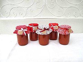 Úžitkový textil - Jahôdková - Čiapočky na zaváraniny - sada červená - 11017939_