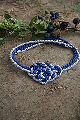 Náhrdelníky - Uzlový náhrdelník modro - strieborný - 11018196_