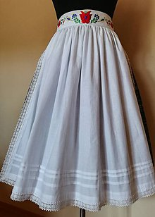 Iné oblečenie - Ľudová zásterka- biela zdobená - 11017456_