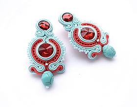 Náušnice - Tyrkysovo-červené šujtášové náušnice - 11017101_