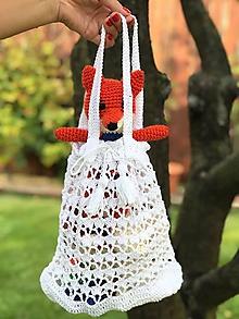 Nákupné tašky - biela menšia háčkovaná do ruky - 11018291_