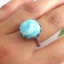 Prstene - Larimar Silver Ring Ag 925 / Strieborný prsteň s kvetmi a larimarom - 11019201_