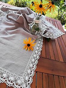 Úžitkový textil - Ľanová štóla Natural s krajkou - 11020003_