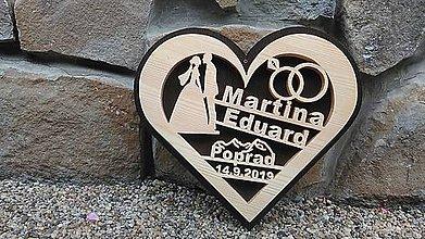 Dekorácie - Drevené svadobné srdce, dar na svadbu - 11019157_