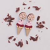 Náušnice - zmrzlina ~ napichovisiačky (punčovo-čokoládová) - 11020677_