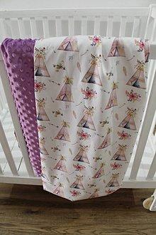 Textil - Minky deka Boho Stany, viac farieb na výber, 100x70cm - 11020250_