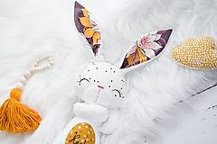 Hračky - Zajačik biely kvetovaný - 11020219_