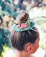 Ozdoby do vlasov - Bavlnená elastická gumička scrunchie zelená - 11019982_