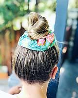 Ozdoby do vlasov - Bavlnená elastická gumička scrunchie zelená - 11019984_