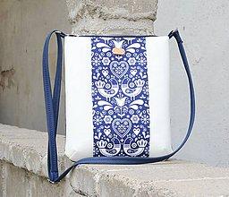 Kabelky - Molly FOLK bielo modrá - 11018899_