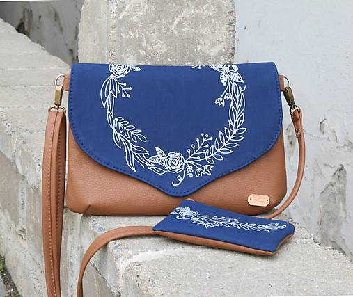 Modrotlačová kabelka Petra hnedá + taštička  AM