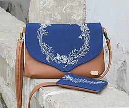 Kabelky - Modrotlačová kabelka Petra hnedá + taštička  AM - 11018865_