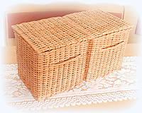 Košíky - Košík hnedý s držiakom a vrchnákom - 11019631_