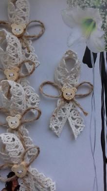 Pierka - svadobné pierko pre deti  (bavlnená čipka + jutový špagát) - 11022607_
