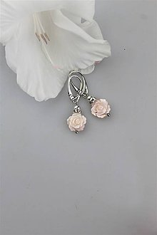 Náušnice - perleť náušnice - kvietkové - 11021883_