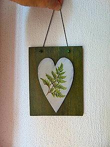 Obrázky - Drevený obrázok Srdiečko v zelenom - 11021458_