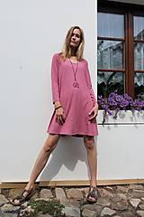 Šaty - STARORŮŽOVÉ KRÁTKÉ S DLOUHÝM RUKÁVEM - 11021224_