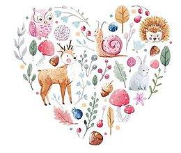 Galantéria - NZ118 Nažehlovačka srdce so zvieratkami 22 x 25 cm - 11021408_