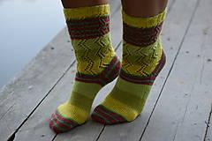 Obuv - žltozelený melír - s pravej ponožkovej vlny (v.38-39) - 11022812_
