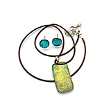 """Sady šperkov - Zlato-zelená """"Crackling"""" sada sklenených šperkov - 11022287_"""