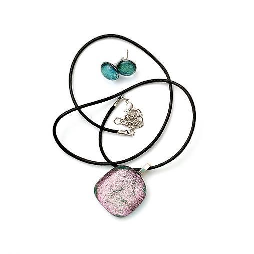 Rose Gold Ružovo-zelená sada sklenených šperkov