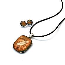 Sady šperkov - Oranžovo-škoricová sada sklenených šperkov - 11022253_