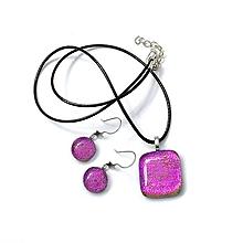 Sady šperkov - Andromeda - Ružová hviezdičková sada sklenených šperkov - 11022268_