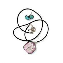 Sady šperkov - Rose Gold Ružovo-zelená sada sklenených šperkov - 11022451_