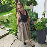 Sukne - Ľanová sukňa s vreckami - 11022069_