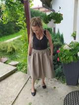 Sukne - Ľanová sukňa s vreckami - 11022074_